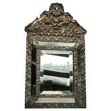 Brass Framed Antique 'Cushion' Mirror' from France
