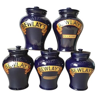 Set of 5 Rare Victorian Tobacco Jars