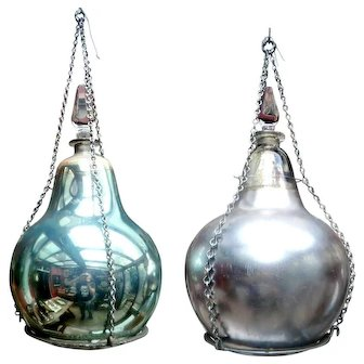 Pair of Victorian Hanging Pharmacy Drug Jars from England.