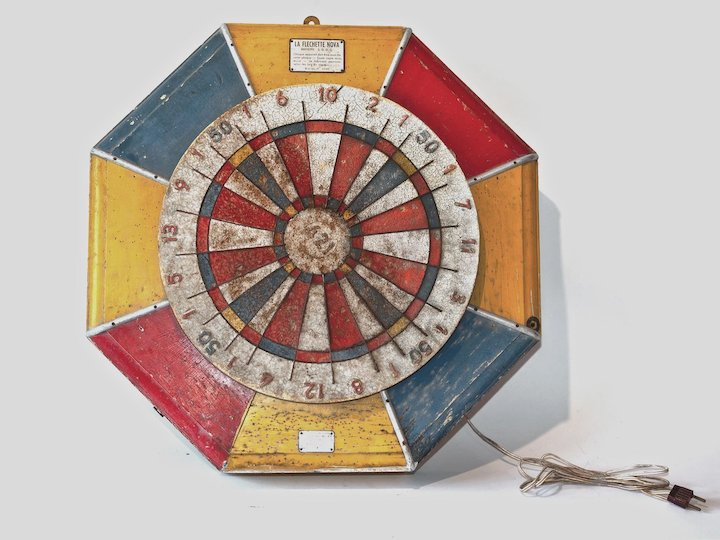 Vintage Spinning Dartboard Game From A French Fairground Relic