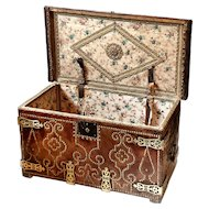 Antique Brass Bound Leather Trunk from Spain