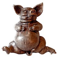 Vintage Carved Pig from a 'Charcuterie' Store in France