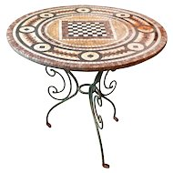 Mosaic Top  Chessboard Café Table from France