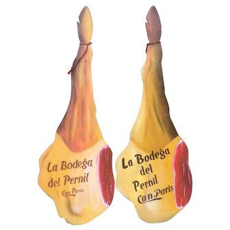 Pair of Huge Advertising Signs from Barcelona for Spanish Iberico Ham