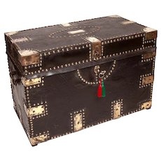 Victorian Colonial Camphorwood Trunk with Leather Binding & Ornate Brasswork