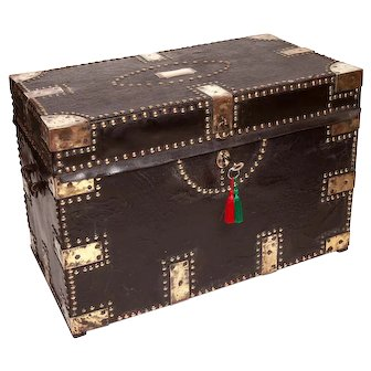 Victorian Colonial Leather Bound  Camphorwood Trunk wit Ornate Brasswork