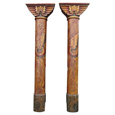 Pair of Original Painted  Art-Deco Fairground Pillars from  England.