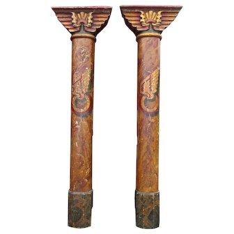 Pair of Original Painted  Art-Deco Fairground Pillars from  England.
