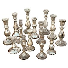 Collection of 14 Mercury Silver Candlesticks from 19thC. France