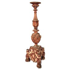 Magnificent 6ft  17thC. Baroque Candlestick from Italy