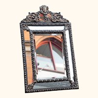 Mid-19th Century Brass Frame 'Cushion' Mirror from France's 'Second Empire' period.