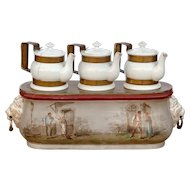 Rare Traditional Porcelain Chocolate Warmer from a Parisian Café in the French 'Belle Epoque' Era