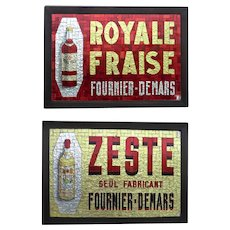 Outstanding Mosaic Glass Advertising Sign for French Liqueurs.- Two Available