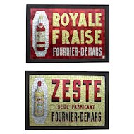 Pair of Outstanding Mosaic Glass Advertising Signs for French Liqueurs.