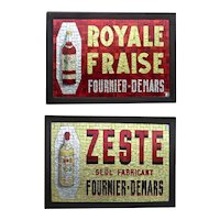 Pair of  Vintage Mosaic Glass Advertising Signs for French Liqueurs.- PRICED SINGLY
