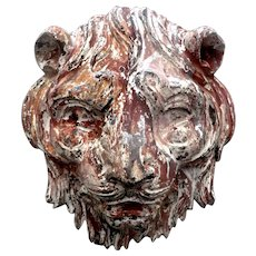 Carved Wooden Tiger's Head from a Fairground in France.