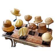 Collection of 10 Vintage Milliner's Hatblocks on Stands 1930-1960