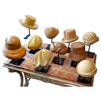 Collection of 10 Vintage Milliner's Hatblocks on Stands 1930-1960