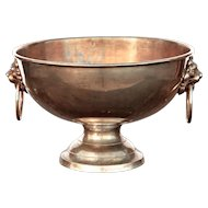 Handsome Nickel Silver Champagne Ice Bowl with Lion Mask Handles