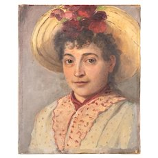 Small 19th century Oil Painting of a Girl from Nice, France.