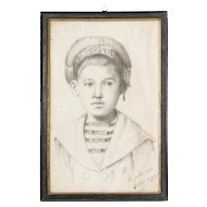 Signed Sketch of Young Boy in 'Matelot' Costume from France circa 1917