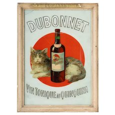 Rare and Famous  Vintage Glass Advertising sign for Dubonnet- from France.