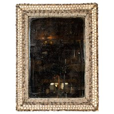 Decorative 19th Century 'Fisherman's'  Mirror with Sea Shell Frame and Mercury Silver Plate.
