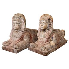 Pair of Carved Wooden Sphinxes , early 20th Century.