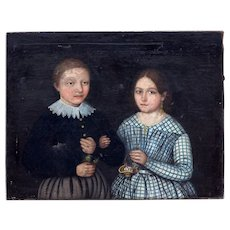 Stunning Portrait Painting of Boy & Girl from early 19th century France