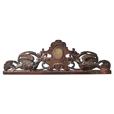 Carved Wood Armorial Pediment  from a French Chateau.