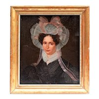 19th Century Antique Oil Portrait Painting of a Spanish Noblewoman