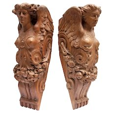 Superb Pair of Carved Wooden  Angels from a 19th C. London Theatre ..