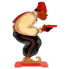 Vintage Wooden'Waiter in Fez'  Cardholder Figure from a French Restaurant