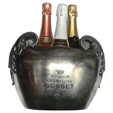 Vintage 3-Bottle Pewter Champagne Bucket from France