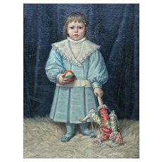 19th C. Oil Painting of a French Boy with a Mr.Punch Doll & a Balloon