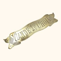 Rare Original Brass 'Boucherie' Sign from France