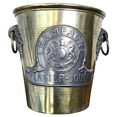 Magnificent Pewter & Brass Champagne Bucket with Royal Coat-of-Arms