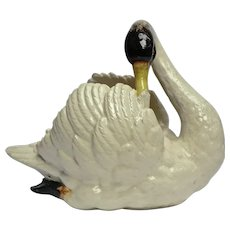 19thC. China Swan by Massier  from a 'Cremerie' or Dairy Shop in France.