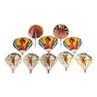Collection of Vintage French Advertising Fans- FREE SHIPPING