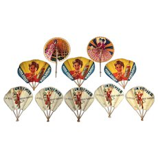 Small Collection of Vintage French Advertising Fans