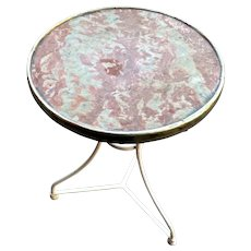 1930's Pink Marble Bistro Table from a Paris Café