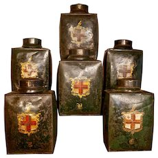 Rare Set of 6 Victorian Tea Canisters with Coats of Arms of the City of London