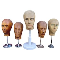 Vintage Wooden Wigmakers Heads from France.
