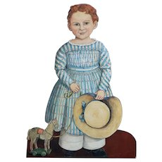 Painted Wooden Young Girl 'Silent Companion' from England.