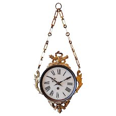 Decorative 19th C. Hanging Wall Clock from France
