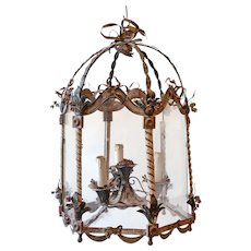 Early 20thC. French Lantern with Ornate Metalwork