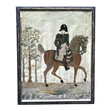 Rare Contemporary Wool/Beadwork Picture of Napoleon Bonaparte