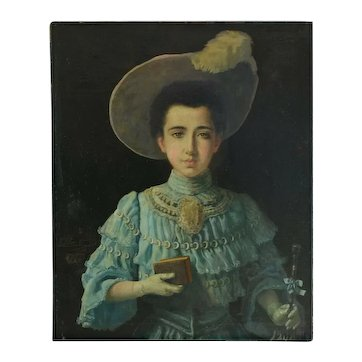 An Exceptional Signed and Unframed Turn-of-the-Century Painting from France of a Young Woman in a Green Dress