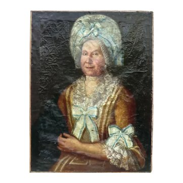 Fine Oil Portrait Painting of an 18th Century French Aristocratic Dowager