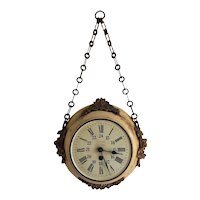 19th Century Chain Hanging Wall Clock from France